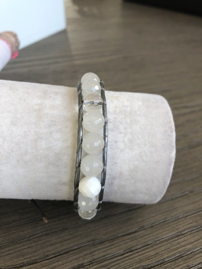 Chan Luu New Auth Chan Luu White Mix Single Wrap Bracelet on Silver Leather Image 2