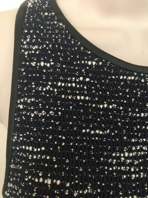 Rebecca Minkoff Cropped Leather Leather Top Blue Tweed Image 1
