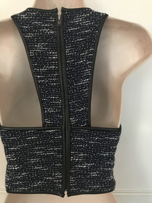 Rebecca Minkoff Cropped Leather Leather Top Blue Tweed Image 2