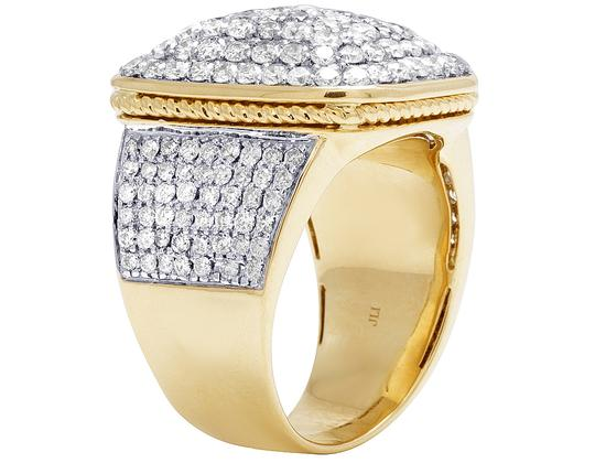 Jewelry Unlimited Men's 14K Yellow Gold 4.0CT Diamond Rectangular Pinky Ring 18MM Image 2
