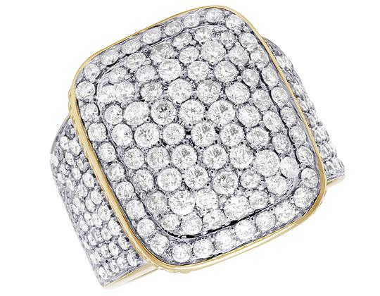 Jewelry Unlimited Men's 14K Yellow Gold 4.0CT Diamond Rectangular Pinky Ring 18MM Image 4