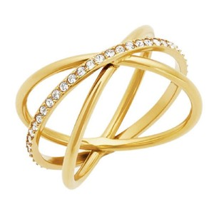 Michael Kors Michael Kors MKJ5531710 Criss-Cross Open Crystals Gold Tone Ring SZ 7