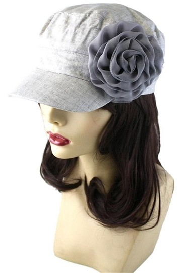Other Gray Textured Flower Accent Fashion Statement Cap Image 2