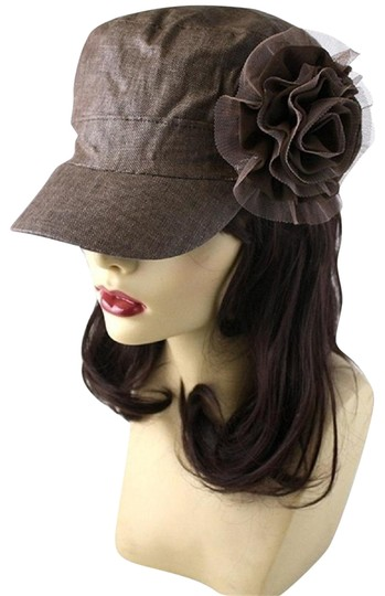 Preload https://img-static.tradesy.com/item/22681547/brown-textured-flower-accent-fashion-statement-cap-hat-0-1-540-540.jpg