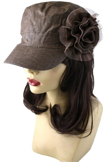Other Brown Textured Flower Accent Fashion Statement Cap Image 2
