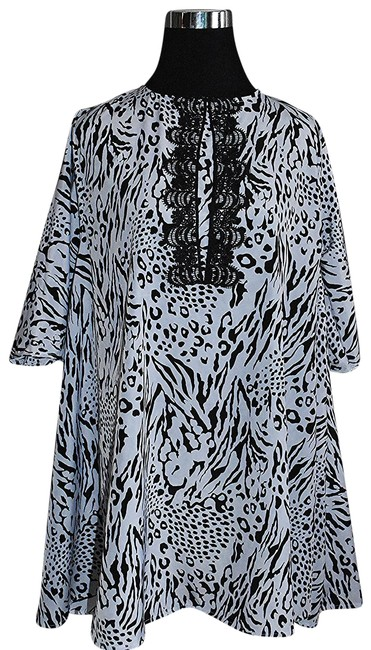 Preload https://img-static.tradesy.com/item/22681585/lisa-nieves-black-and-white-animal-print-baby-doll-with-neck-applique-short-cocktail-dress-size-12-l-0-1-650-650.jpg