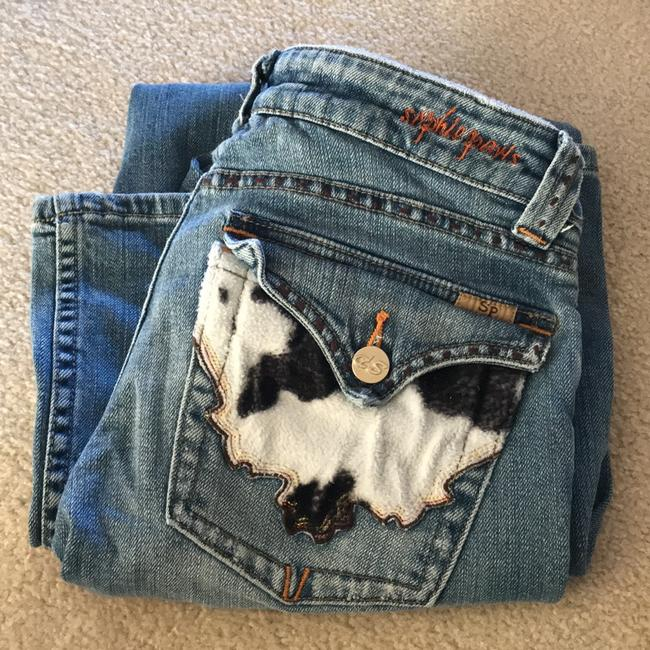 Sophie Paris Distressed Cowhide Print Size 3 Relaxed Fit Jeans-Distressed Image 9
