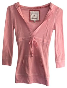 Abercrombie & Fitch 3/4 Sleeve V Neck Hood Top pink