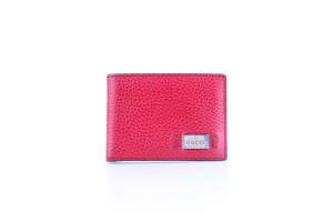 Gucci * Gucci Red Textured Leather Metal Logo Tag Small Bifold Wallet