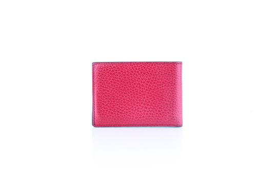 Gucci * Gucci Red Textured Leather Metal Logo Tag Small Bifold Wallet Image 3