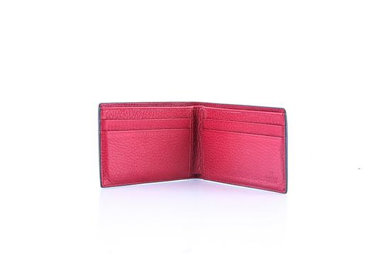 Gucci * Gucci Red Textured Leather Metal Logo Tag Small Bifold Wallet Image 5