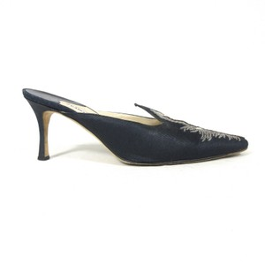 Manolo Blahnik Embroidered Feathers Silk Navy Mules
