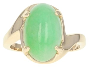 Wilson Brothers Jadeite Solitaire Bypass Ring - 14k Yellow Gold 6ct Oval Cabochon