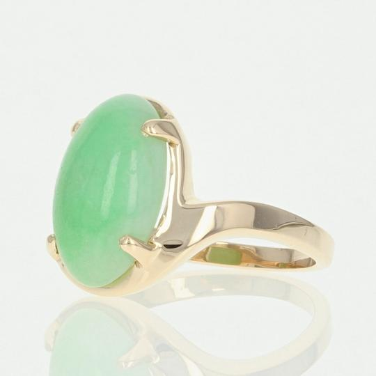 Wilson Brothers Jadeite Solitaire Bypass Ring - 14k Yellow Gold 6ct Oval Cabochon Image 1