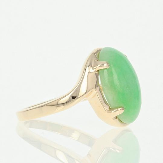 Wilson Brothers Jadeite Solitaire Bypass Ring - 14k Yellow Gold 6ct Oval Cabochon Image 2