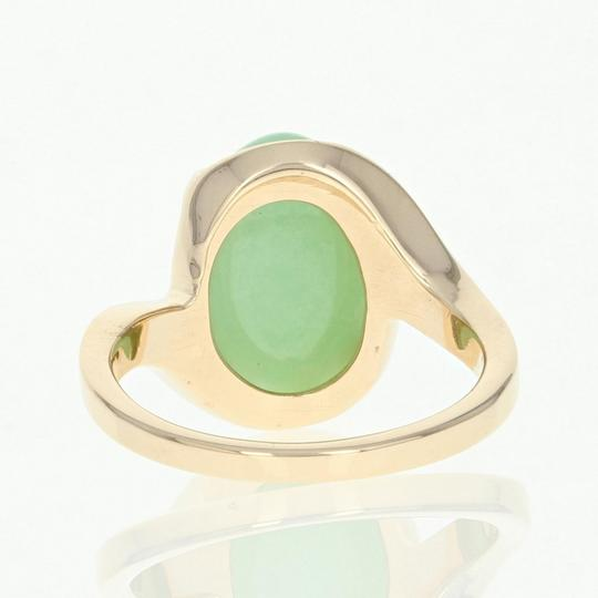 Wilson Brothers Jadeite Solitaire Bypass Ring - 14k Yellow Gold 6ct Oval Cabochon Image 3