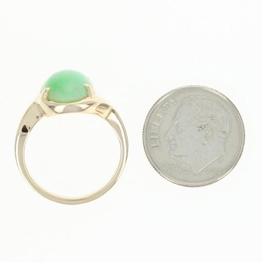 Wilson Brothers Jadeite Solitaire Bypass Ring - 14k Yellow Gold 6ct Oval Cabochon Image 5