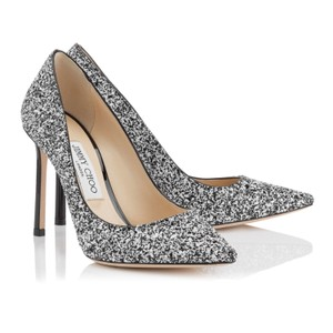 Jimmy Choo black white embellished glitter Pumps