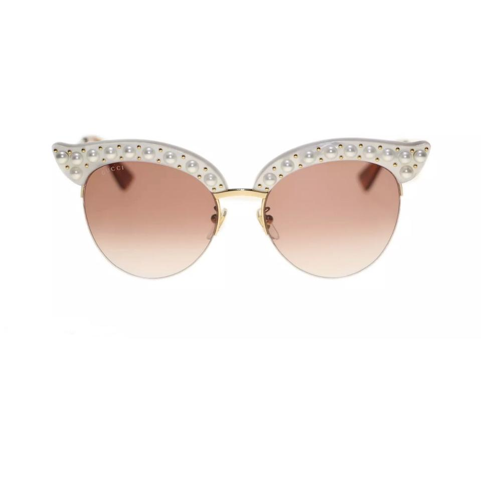 5e926e63b5 Gucci Gucci GG0212S Faux Pearl-Trim Cat Eye Sunglasses Image 0 ...
