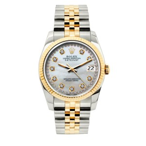 Rolex 36mm Datejust Gold S/S Diamond with Box & Appraisal Watch