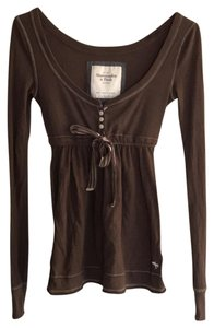 Abercrombie & Fitch Baby Doll Preppy Button Down Long Sleeve Top brown