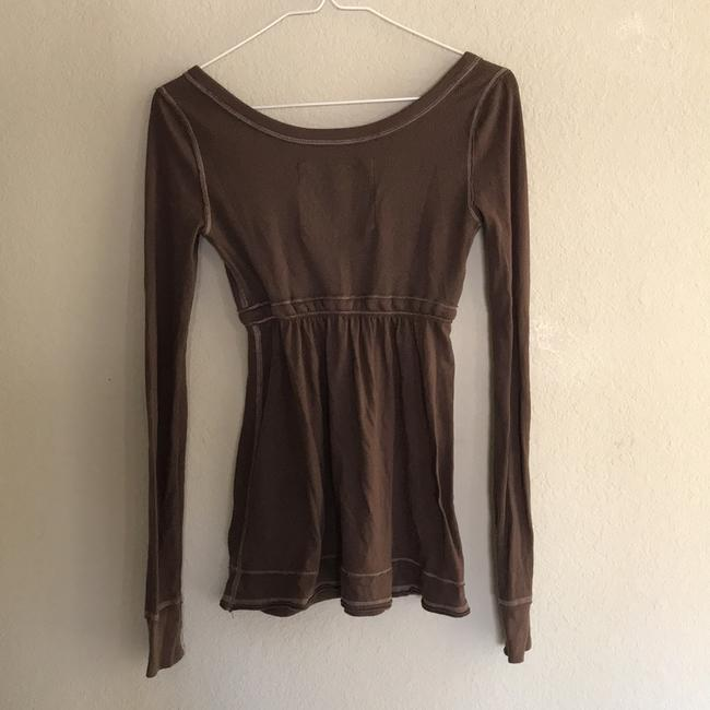 Abercrombie & Fitch Baby Doll Preppy Button Down Long Sleeve Top brown Image 2