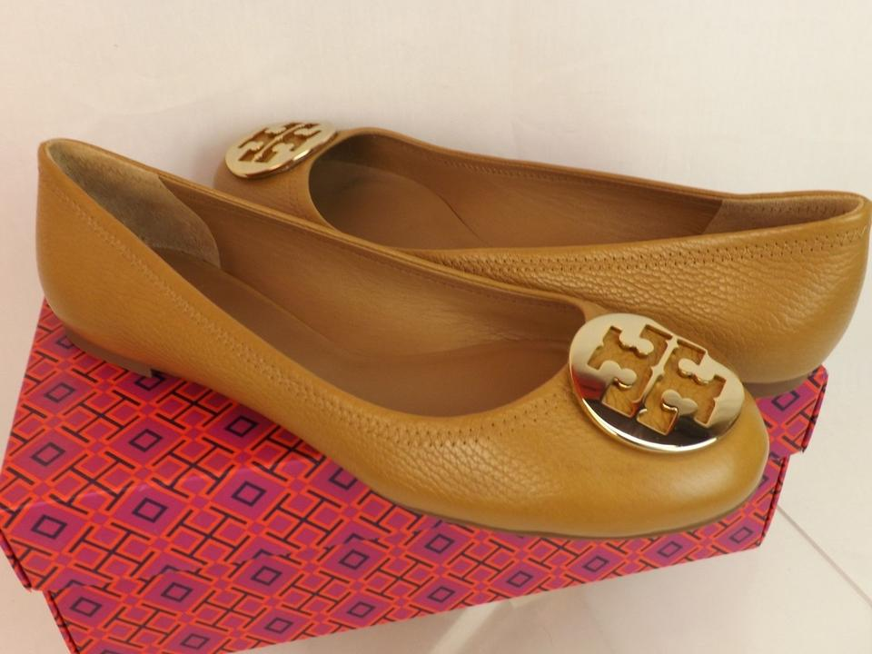 029c246d48a Tory Burch Royal Tan Gold Reva Tumbled Leather Tone Logo Ballet ...