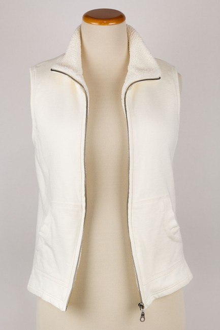 Coldwater Creek Color Outside Pockets Faux Sherpa Lined Zipper Front Vest Image 3