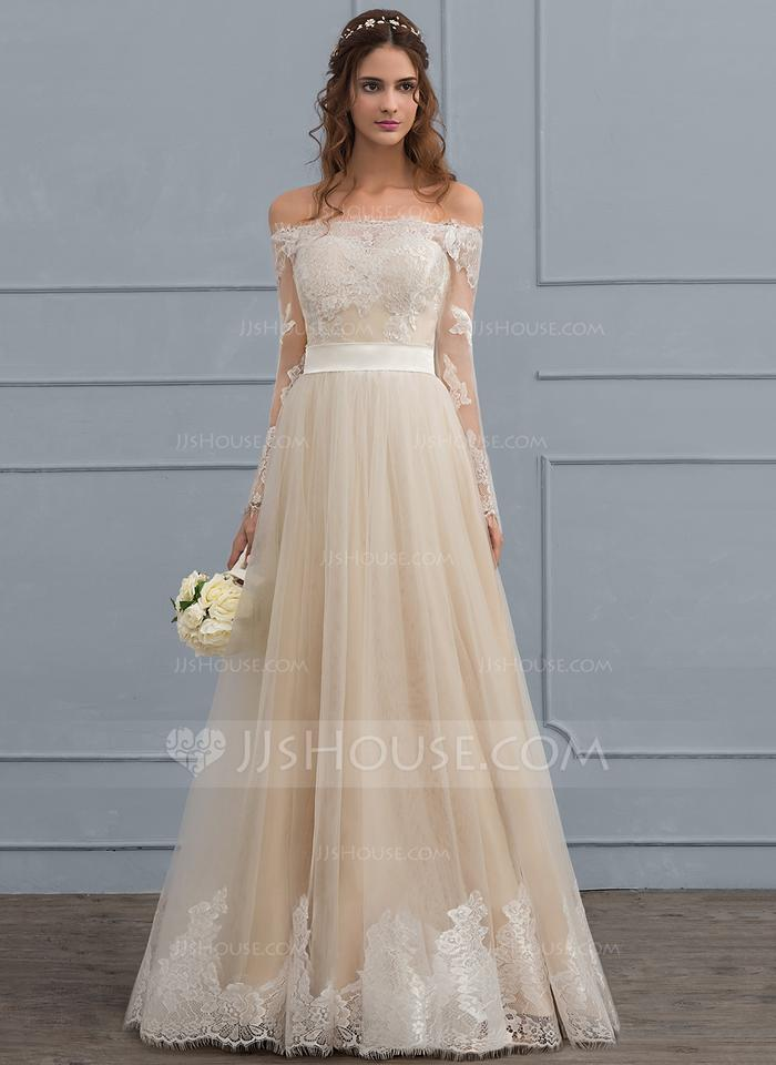 JJ Authentic Champagne Tulle Lace Color As Picture A Line Princess Off The Shoulder Formal Wedding Dress