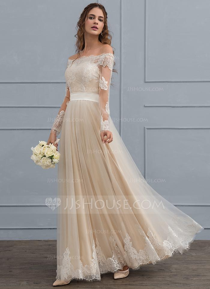 Jj authentic champagne tulle lace color as picture a line for Jj wedding dresses reviews