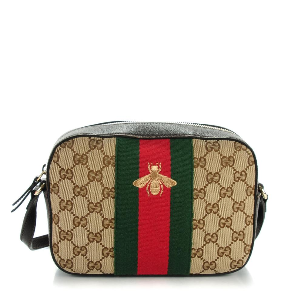 51c64fa22 Gucci Webby Shoulder Soho Disco Gg Bee Brown/Red/Green Canvas ...