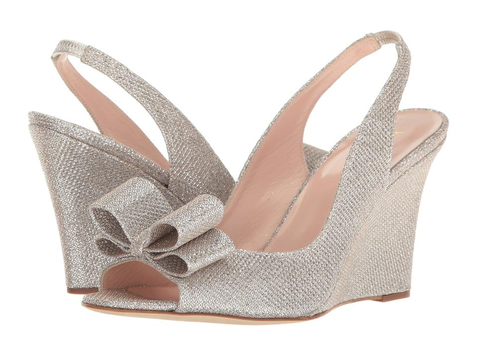 43891a47364 Kate Spade Silver Irene Metallic Lurex Wedge Slingback Sandals Formal Shoes