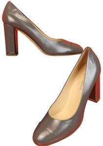 Chanel Leather Buckles Patent Quiled Gray Pumps