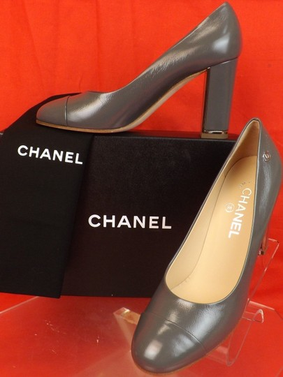 Chanel Leather Buckles Patent Quiled Gray Pumps Image 1