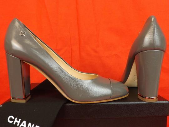 Chanel Leather Buckles Patent Quiled Gray Pumps Image 2