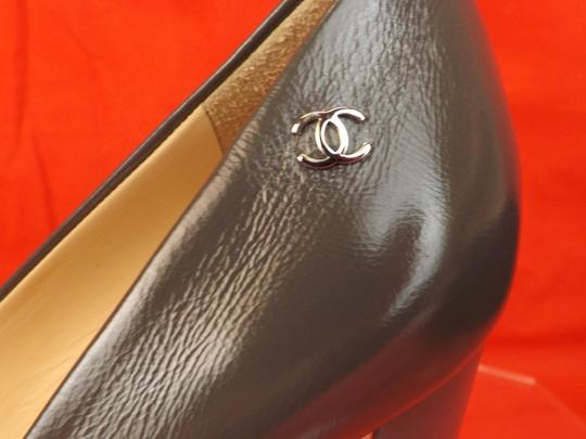 Chanel Leather Buckles Patent Quiled Gray Pumps Image 3