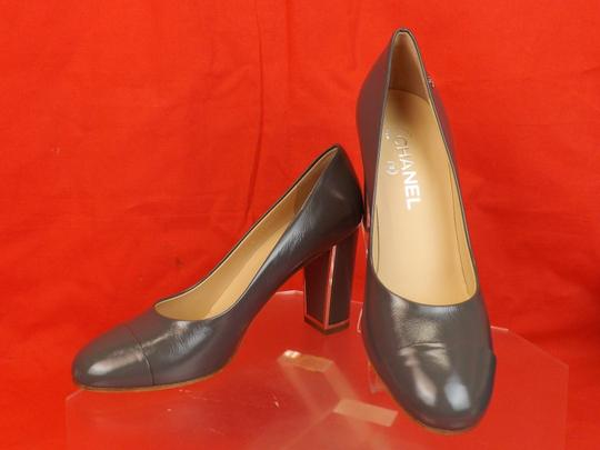 Chanel Leather Buckles Patent Quiled Gray Pumps Image 4