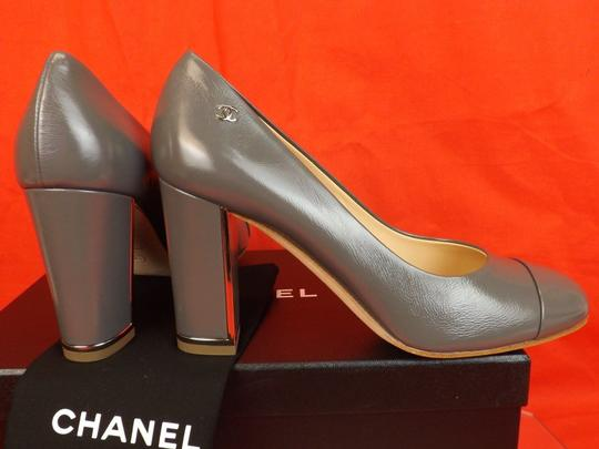 Chanel Leather Buckles Patent Quiled Gray Pumps Image 5