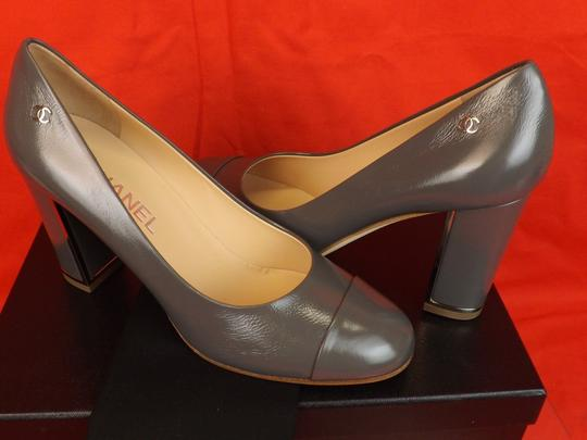 Chanel Leather Buckles Patent Quiled Gray Pumps Image 6