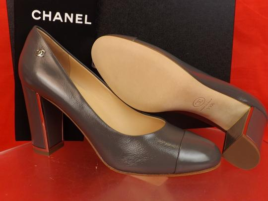 Chanel Leather Buckles Patent Quiled Gray Pumps Image 7