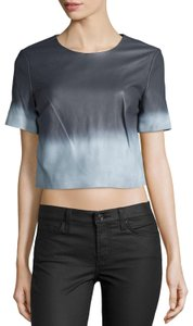 ZAC Zac Posen Grey Gray Short Sleeve Top White/Summer Storm