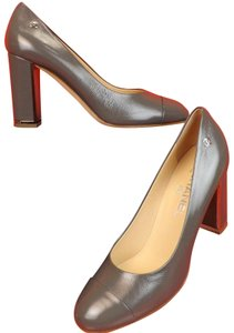 Chanel Leather Buckles Patent Quiled Light Gray/Silver Pumps