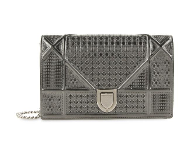 Item - Wallet on Chain ama Micro Cannage Embossed Grey Leather Cross Body Bag