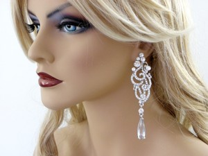 Clear Long Chandelier Long Crystal Statement Earrings
