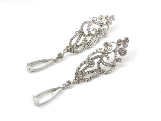 Clear Long Chandelier Long Crystal Statement Earrings Image 1