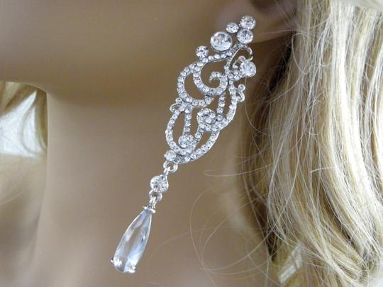 Clear Long Chandelier Long Crystal Statement Earrings Image 2