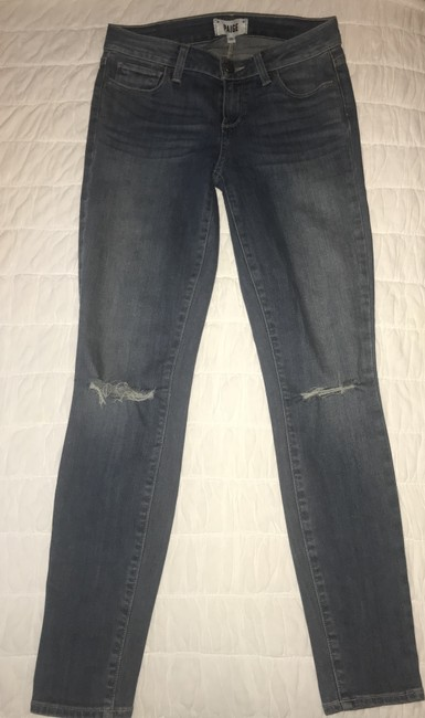 Paige Distressed Torn Ripped Skinny Jeans-Distressed Image 3
