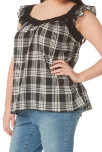 Evans Crinkly Cotton Ruffly Cap Sleeves Lace Trim Neck Classic Plaid Top Black Grey