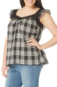 Evans Crinkly Cotton Ruffly Cap Sleeves Lace Trim Neck Classic Plaid Top NWT Black Grey