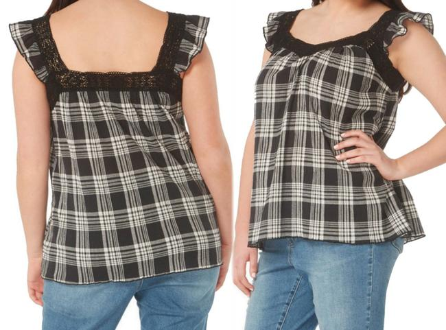 Evans Crinkly Cotton Ruffly Cap Sleeves Lace Trim Neck Classic Plaid Top Black Grey Image 1